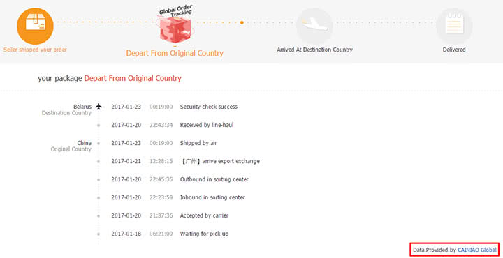 Отслеживание AliExpress Standard Shipping с помощью CAINIAO Global
