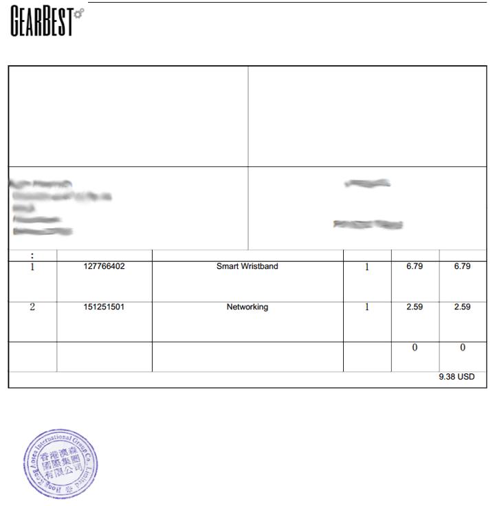 Заполнение декларации на GearBest