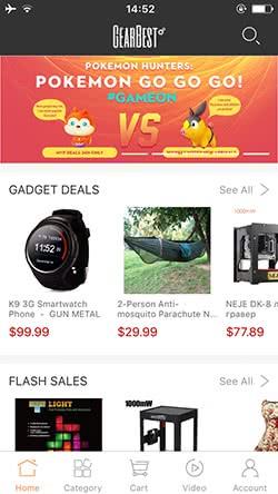 Низкие цены в приложении GearBest
