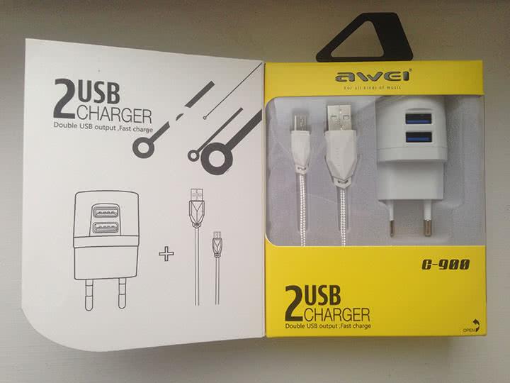 Зарядное Awei C-900 c 2-мя USB выходами