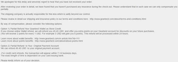 GearBest не возвращает часть денег