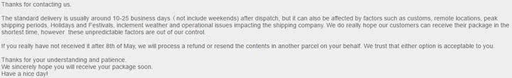 Повторная отправка товара GearBest